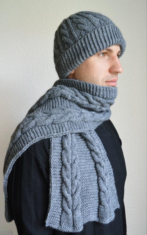чоловічий шарф спицями - 14