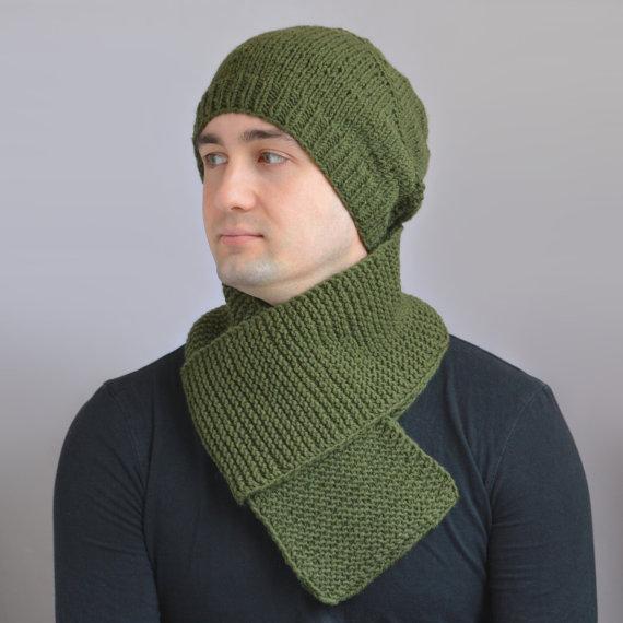 чоловічий шарф спицями - 15
