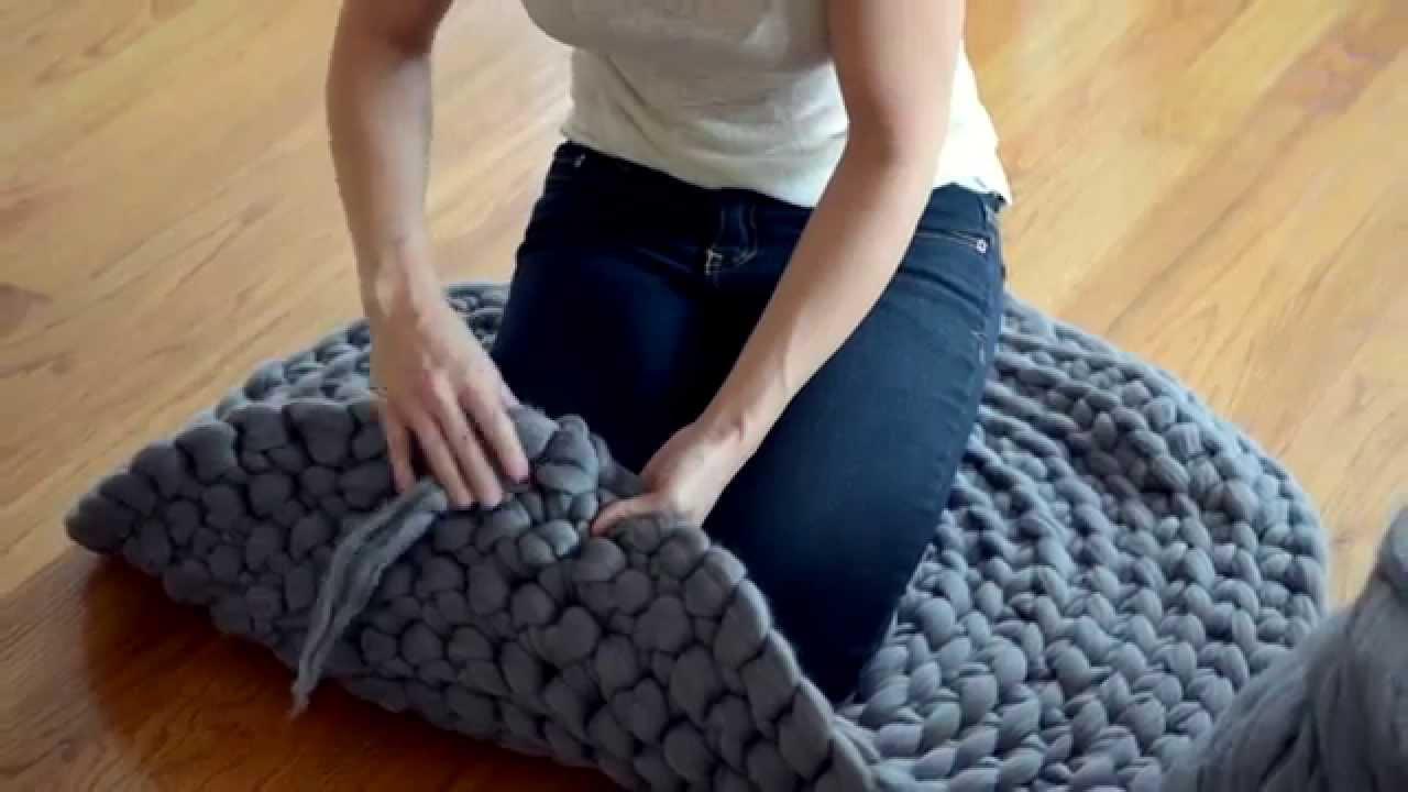 Вязание ковриков крючком из толстых ниток