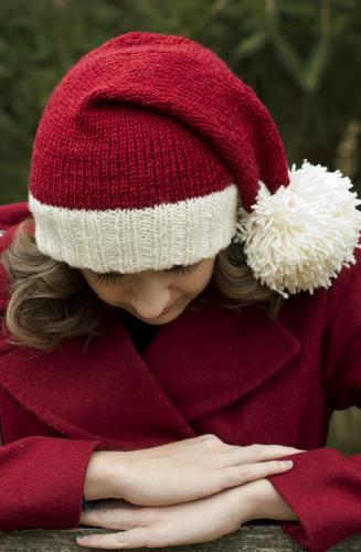 В'язана новорічна шапочка спицями - 2