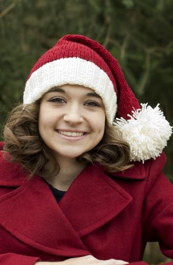 В'язана новорічна шапочка спицями - 1
