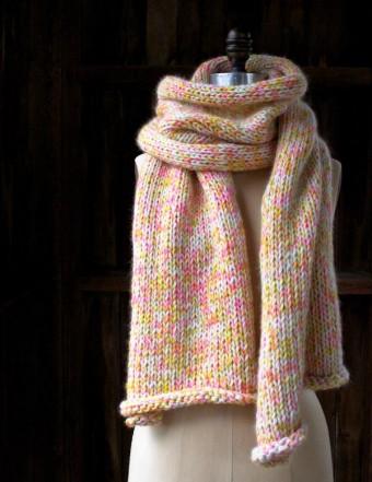 В'язаний шарф з меланжевої пряжі спицями - 3
