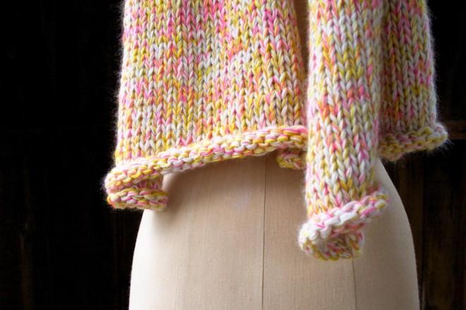 В'язаний шарф з меланжевої пряжі спицями - 4