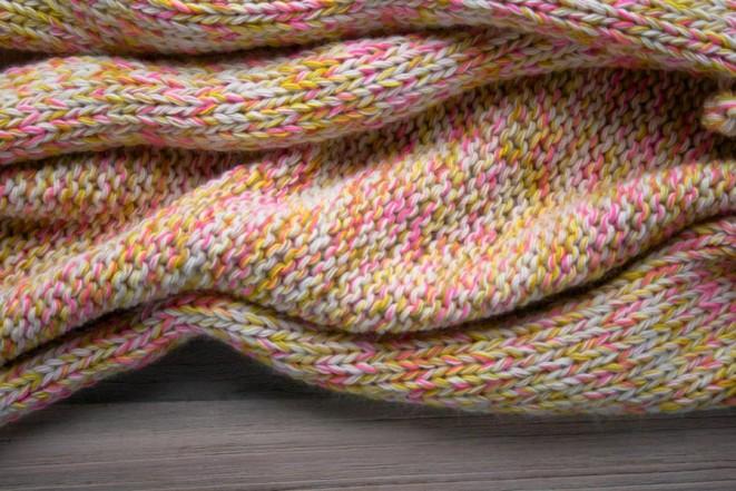В'язаний шарф з меланжевої пряжі спицями - 5