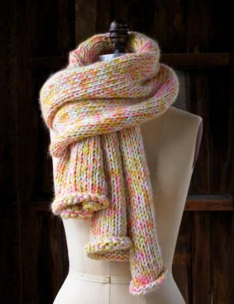 В'язаний шарф з меланжевої пряжі спицями - 7