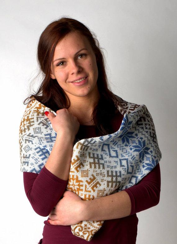 Жакардовий шарф спицями - 1