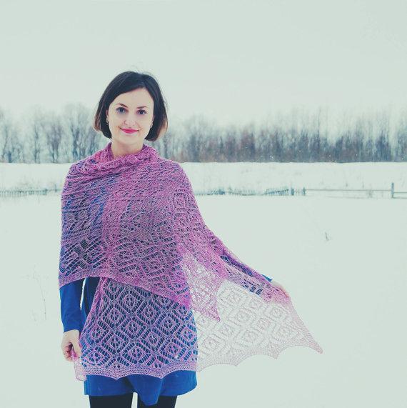 Ажурний шарф спицями - 1