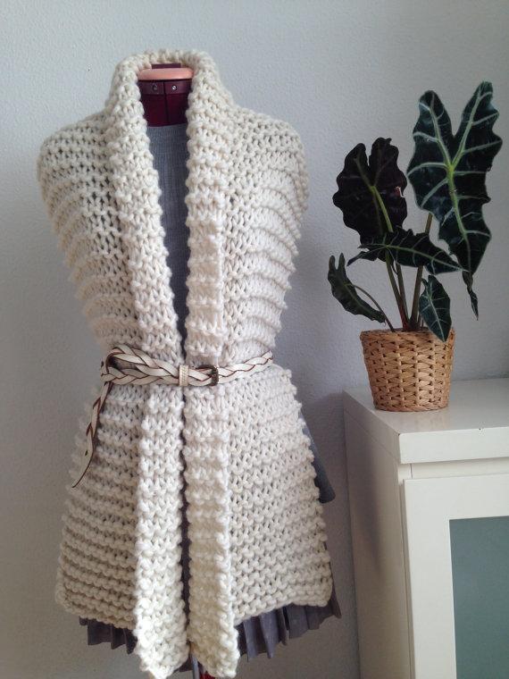 Широкий шарф спицями - 3