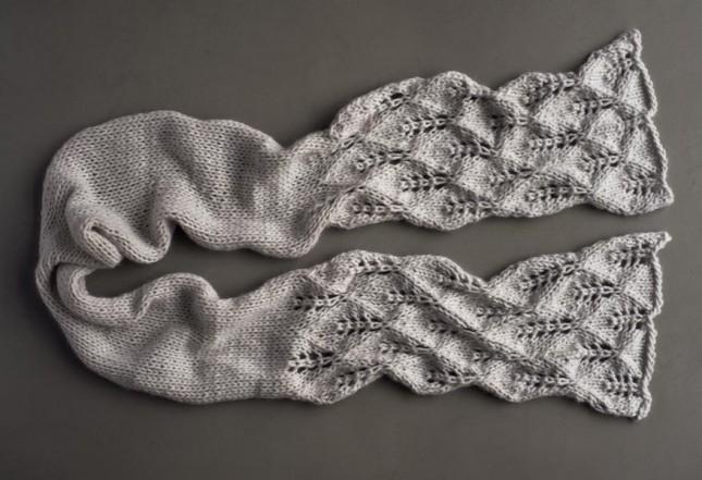 В'язаний ажурний шарф спицями - 5