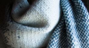 В'язаний жакардовий шарф спицями - 1