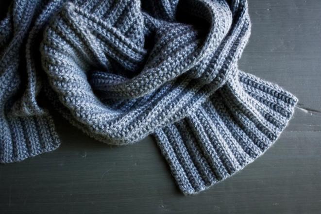 В'язаний шарф з двухстороннім візерунком - 5