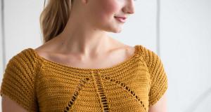 В'язаний пуловер з ажурним візерунком - 1