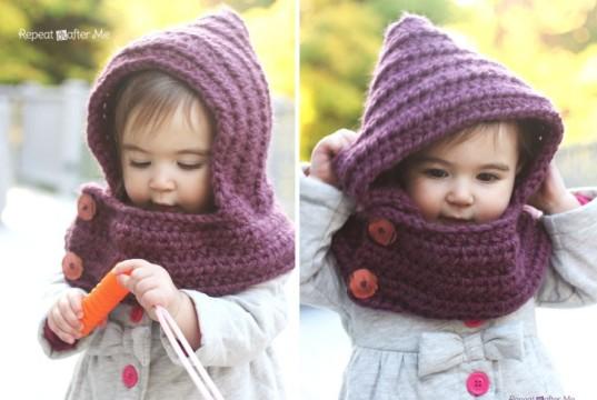Дитячий шарф-капюшон гачком